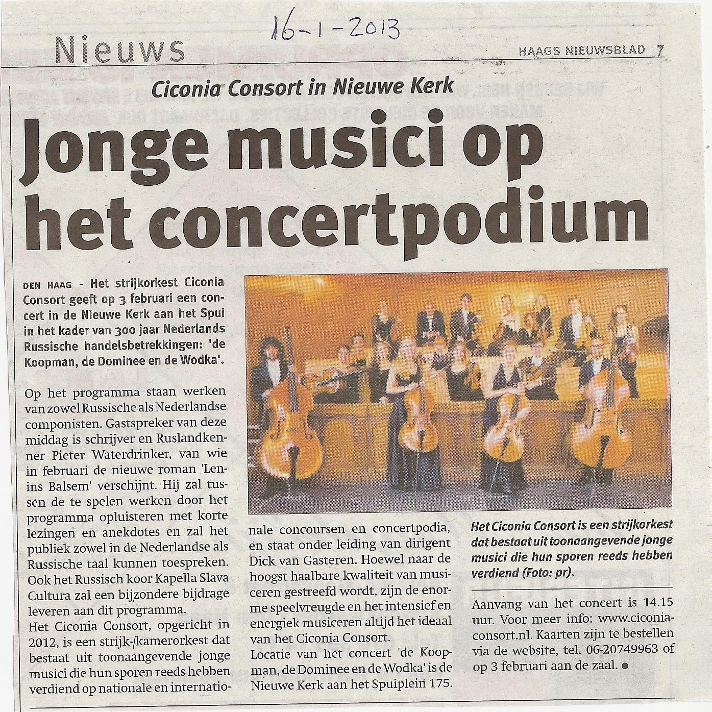 Artikel in het Haags NIeuwsblad, 16 januari 2013